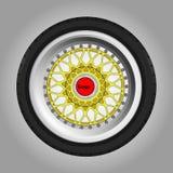 Sportcar-Rad mit einem Reifen Stockfotografie