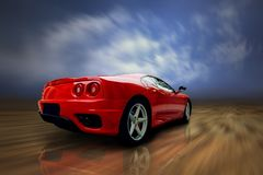 Sportcar rojo de la velocidad hermosa Foto de archivo