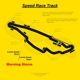 Sportcar speed circuit. Speed race track map with sample text isolated on yellow background Stock Image