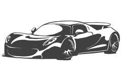 Sportcar vector black illustration isolated on white background. Hand drawn illustration. Eps10 Royalty Free Stock Photo