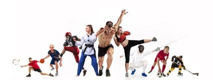 Sportcollage om boxning, fotboll, amerikansk fotboll, basket, ishockey, fäktning som joggar, Taekwondo, tennis arkivfoto