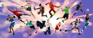 Sportcollage om idrottsman nen eller spelare r royaltyfria foton