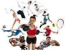 Sportcollage om kickboxing, fotboll, amerikansk fotboll, basket, badminton, Taekwondo, tennis, rugby Arkivbilder