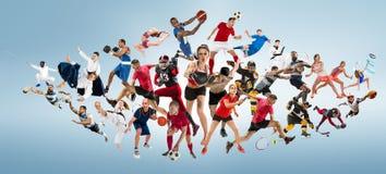 Sportcollage om kickboxing, fotboll, amerikansk fotboll, basket, ishockey, badminton, Taekwondo, tennis, rugby Royaltyfria Foton