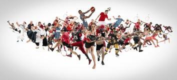 Sportcollage om kickboxing, fotboll, amerikansk fotboll, basket, ishockey, badminton, Taekwondo, tennis, rugby royaltyfri bild