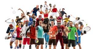 Sportcollage over vrouwelijke atleten of spelers Het tennis, het lopen, badminton, volleyball stock foto's