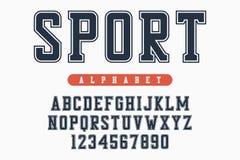 Sportdoopvont, origineel universiteitsalfabet Atletische stijlletters en getallen voor sportkleding, t-shirt, universitair emblee Stock Afbeelding