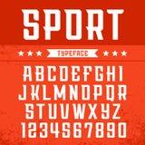 Sportdoopvont Vectoralfabet met Latijnse letters en getallen Stock Afbeelding