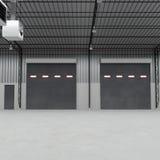Sportelli o pavimento della porta e del calcestruzzo del rullo dentro la costruzione della fabbrica illustrazione 3D Fotografia Stock