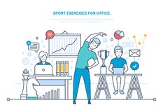 Sporten övar för kontor Göra sportar, utbildning, sund livsstilidrottsman nen royaltyfri illustrationer