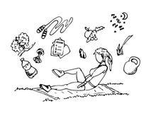 Sporten in aard Geschiktheid of training Pictogrammen op een sportenthema Illustratie Getrokken hand vector illustratie