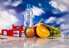 Sporten bantar, kalorin, måttband Fotografering för Bildbyråer