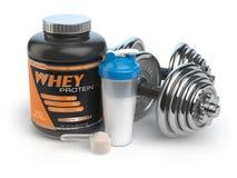 Sporten die supplementen of voeding bodybuilding Geschiktheid of gezondheid Royalty-vrije Stock Foto