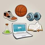 Sporten en onderwijsstudentenreeks Stock Foto's