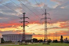 Sporten en Overleg complex St. Petersburg en steunen hoge volt stock foto