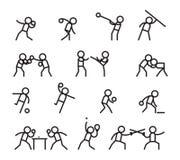 Sporten en vechtsportenlijnpictogrammen stock illustratie