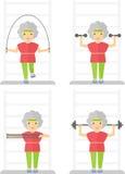 Sporten för äldre kvinnor övar idrottshall Royaltyfri Foto