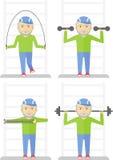 Sporten för äldre man övar idrottshall Arkivbilder