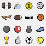 Sporten geplaatst pictogrammen stock illustratie