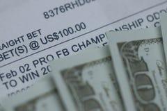 Sporten Gewed op met contant geld stock afbeelding