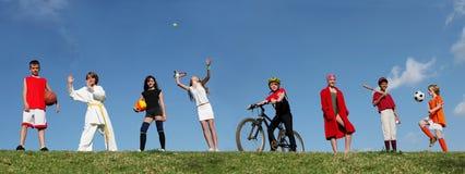 Sporten, groep kinderen