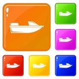 Sporten powerboat pictogrammen geplaatst vectorkleur royalty-vrije illustratie