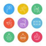 sporten, spelen, atheletes, ballen, fitness, eps geplaatste pictogrammen vec vector illustratie