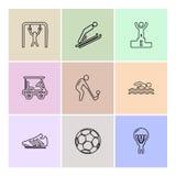 sporten, spelen, de zomer, strand, eps pictogrammen geplaatst vector stock illustratie