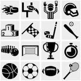 Sporten vectordiepictogrammen op grijs worden geplaatst. Stock Foto's