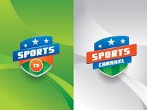 Sporten vectorembleem met achtergrond Stock Foto's