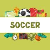 Sportenachtergrond met de symbolen van de voetbalvoetbal Royalty-vrije Stock Foto's