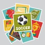 Sportenachtergrond met de symbolen van de voetbalvoetbal Royalty-vrije Stock Afbeeldingen