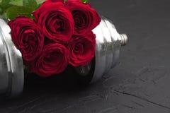 Sportenachtergrond met domoor en rozen Stock Afbeelding