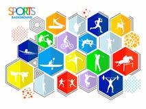 Sportenachtergrond met verschillende spelen stock illustratie