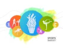 Sportenachtergrond met verschillende spelen royalty-vrije illustratie