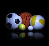 Sportenballen het 3d teruggeven Stock Afbeeldingen
