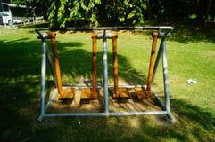 Sportenfaciliteiten, in het communautaire park, voor ingezetenen om fitness de diensten te verlenen stock foto