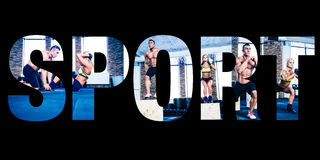 Sportenfoto's in de vorm van de woordsport Stock Afbeeldingen