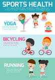 Sportengezondheid Infographics, Sportengezondheid, de gezondheid van jonge geitjessporten, de gezondheid van kindsporten, vectori Vector Illustratie