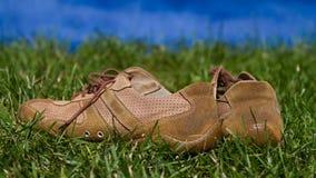 Sportengymschoenen op een groen gras Stock Afbeeldingen