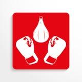 Sportensymbolen boxing Het pictogram van toestellen Rood en wit beeld op een lichte achtergrond met een schaduw Royalty-vrije Stock Fotografie