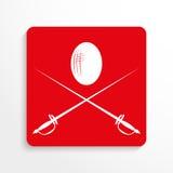 Sportensymbolen fencing Het pictogram van toestellen Rood en wit beeld op een lichte achtergrond met een schaduw Stock Foto's
