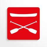 Sportensymbolen kayaking Het pictogram van toestellen Rood en wit beeld op een lichte achtergrond met een schaduw Stock Afbeeldingen