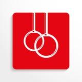 Sportensymbolen Oefeningen op de ringen Het pictogram van toestellen Rood en wit beeld op een lichte achtergrond met een schaduw Stock Afbeelding