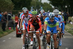 Sporters in action. Peleton of cyclists during the cycling world championship in Valkenburg Stock Photography