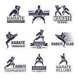 Sportetikettuppsättning för att slåss klubban Karate och kampsporter vektor illustrationer
