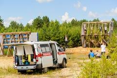 Sportevenement met ziekenwagen Tyumen Rusland royalty-vrije stock foto's