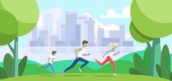 sportfamilie Vader, moeder en zoonsjogging in het park Grote stad op achtergrond Vector illustratie Royalty-vrije Stock Afbeelding