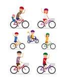 Sportfamilj Mamma-, farsa- och ungerittcyklar stock illustrationer