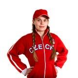 Sportfan i nationell ärmlös tröja arkivbilder